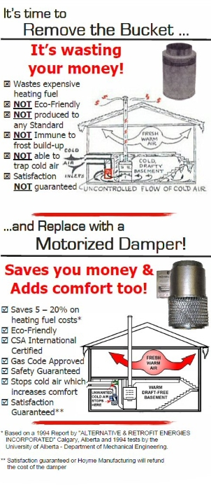 Remove the bucket and replace with a Motorized Damper