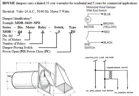 MOH - Motorized Damper - Wiring Diagram and Damper Identification